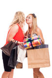 Girlfriends cheek kiss Royalty Free Stock Photos
