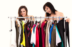 Girlfriends choosing clothes Stock Photo