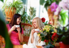Girlfriends with coffee in garden Royalty Free Stock Images