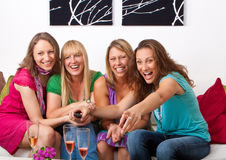 Girlfriends on the couch 8 royalty free stock photos