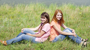 Girlfriends at countryside. Royalty Free Stock Image