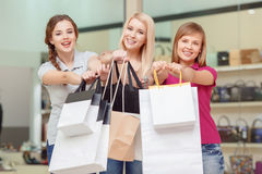 Girlfriends do shopping in the store Royalty Free Stock Photo