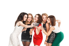 Girlfriends do smartphone selfi isolated on white Stock Photo