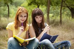 Girlfriends doing homework at the park. Stock Photography