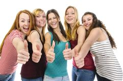 Girlfriends doing Thumbs Up Royalty Free Stock Images