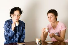 Girlfriends Drinking Tea. Two young woman sitting at a table and drinking tea stock image