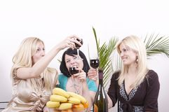 Girlfriends drinking wine  Stock Photography