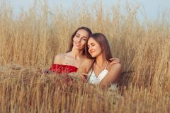 Girlfriends are hugging in the field. Stock Photos