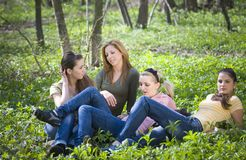 Girlfriends in the forest Stock Photography