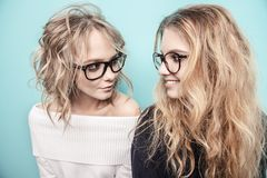 Girlfriends in glasses stock photos