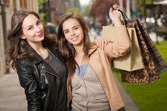 Girlfriends go shopping. Stock Photo