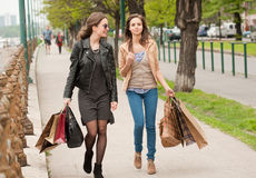 Girlfriends go shopping. Royalty Free Stock Photo