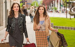 Girlfriends go shopping. Stock Photography