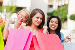 Girlfriends Gone Shopping Royalty Free Stock Photos