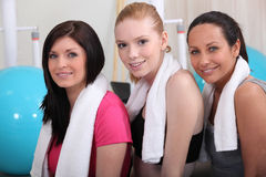 Girlfriends in the gym. Three girlfriends in the gym royalty free stock images