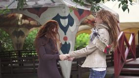 Girlfriends happy and have fun jumping holding hands.. slow motion. Two redheaded girlfriends goofing around and having fun. young girls with freckles stock video