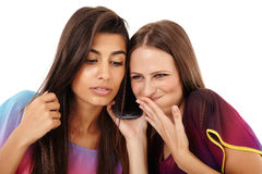 Girlfriends having fun with the mobile phone Royalty Free Stock Photo