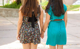 Girlfriends holding hands Royalty Free Stock Photography