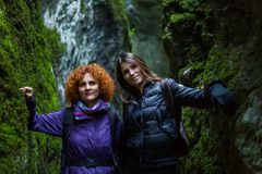 Girlfriends hiking together Royalty Free Stock Image