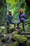 Girlfriends hiking together Royalty Free Stock Photography