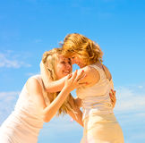 Girlfriends hug Royalty Free Stock Photo