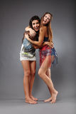 Girlfriends hugging and having fun Royalty Free Stock Photography