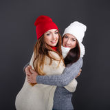 Girlfriends hugging in a warm sweater. Stock Image