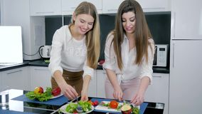 Girlfriends in kitchen prepare breakfast together on table, women slicing and mixing the salad. Girlfriends in the kitchen prepare breakfast together on table stock footage