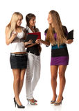 Girlfriends with laptops Stock Photo