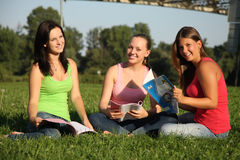 Girlfriends learning in the grass royalty free stock image
