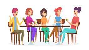 Free Girlfriends Meeting. Cute Women Party, Female With Drinks Talking And Smiling. Isolated Girls In Cafe Vector Royalty Free Stock Photos - 189532358