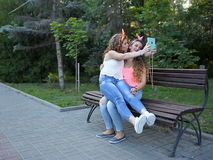 Girlfriends met in park. stock video