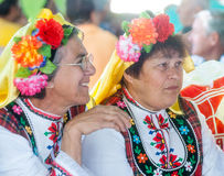 Girlfriends in the national costumes of the Balkan Royalty Free Stock Photos