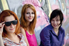Girlfriends Near Graffiti Wall. Stock Photography
