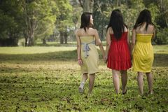 Girlfriends outdoor in the park Royalty Free Stock Photos