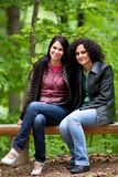 Girlfriends in park Stock Images