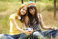 Girlfriends at the park. Royalty Free Stock Photos