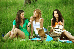 Girlfriends on picnic Stock Photo
