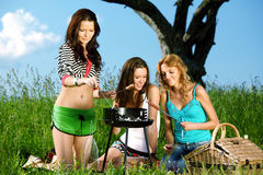 Girlfriends on picnic Stock Images