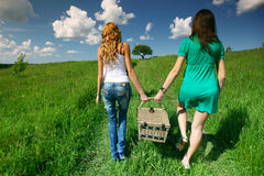 Girlfriends on picnic Royalty Free Stock Image
