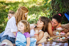 Girlfriends on picnic Stock Image