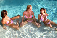 Girlfriends at the Pool royalty free stock images