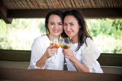 Girlfriends in a restaurant gazebo smile royalty free stock photo