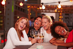 Girlfriends at rooftop party Royalty Free Stock Photos