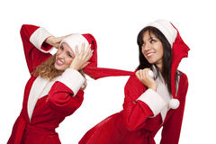 Girlfriends in santa costume Royalty Free Stock Photo