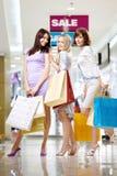 Girlfriends in shop Stock Photo