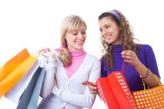 Girlfriends  on shopping Royalty Free Stock Image