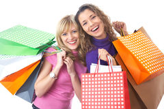 Girlfriends  on shopping Royalty Free Stock Photos