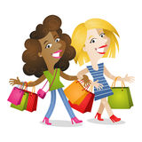 Girlfriends shopping bags Royalty Free Stock Image