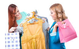 Girlfriends in a shopping Stock Images